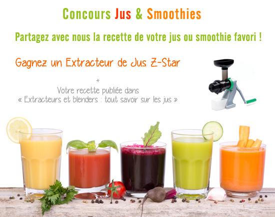 Participez au concours Jus et Smoothies avec extracteurs de jus et blenders