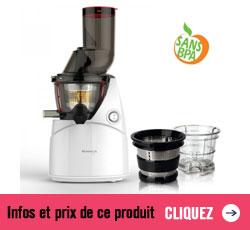 Prix et infos sur l'offre complète de l'extracteur de jus Kuvings et son kit smoothie sorbet